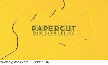 Colorful 3d Papercut Layers Vector Illustration. Bright Abstract Background Design Template. Yellow