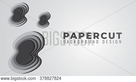 Monochrome Papercut Layers Vector Illustration. Abstract Background Design Template. Gray Color Them