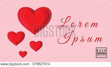 Colorful 3d Heart Shape Papercut Layers Vector Illustration. Abstract Background Design Template. Re