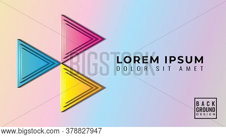 Colorful Glossy 3d Triangle Papercut Layers Vector Illustration. Abstract Background Design Template
