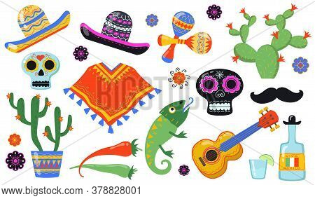 Various Mexican Symbols Flat Icon Set. Traditional Latino Party With Sombrero, Taco Food, Cactus, Gu