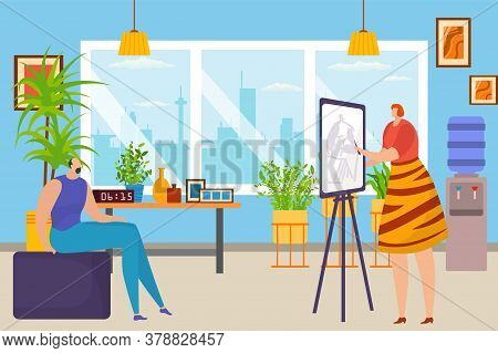 Art Studio, Artist Woman Sketching Models Portrait At Easel In Art Workshop, Canvas Drawing Picture