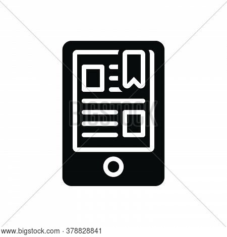 Black Solid Icon For Ereader Bookmark Concept Education Device Digital Display Ebook Electronic Mobi