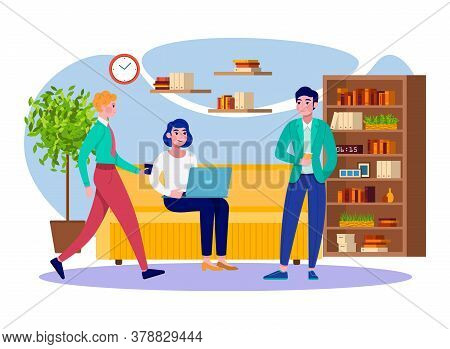 Office Coffee Break Business People Team Relax At Work Flat Vector Illustration. Young Men And Woman