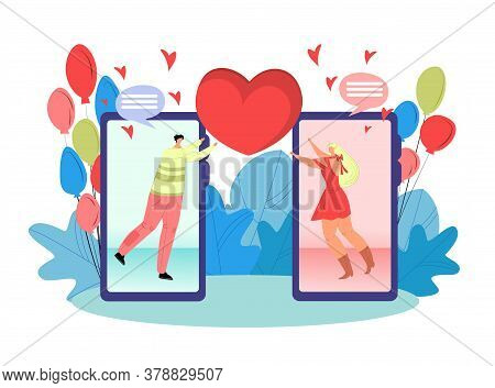Online Dating Love App Vector Illustration. Man And Woman On Smartphones. Acquaintance Through The S