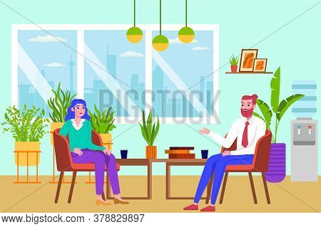 Psychotherapy People, Psychologist Consulting Woman Vector Illustration. Medical Practitioner Treati