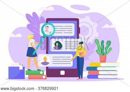 Recruitment Process, Career And Job Employment Flat Vector Illustration. Job Interview, Recruitment