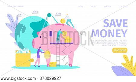 Saving Money, Finance And Investment, Cash Landing Page Vector Illustration. Piggy Bank, Coins, Doll