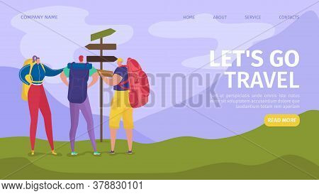 Travel And Hiking For Tourists Adventure In Nature Website Landing, Vector Illustration. Travelling,