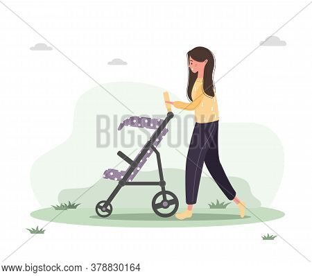 Young Woman Walking With Her Newborn Child In An Pram. Girl Sitting With A Stroller And A Baby In Pa