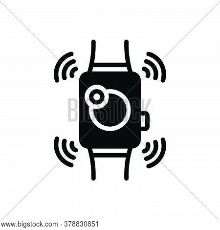 Black Solid Icon For Smartwatch Wearable Technology Accessory Device Digital Electronic Gadget Hand