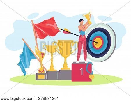 Sport Winner At Podium With Golden Cup, Flags And Arrow In Target, Sport Athletic Victory Win Athlet