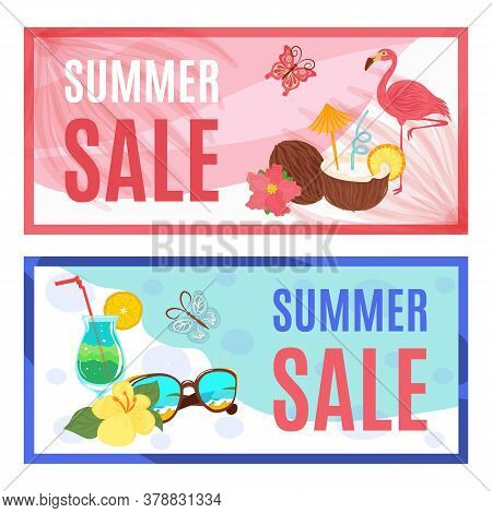 Summer Sale Banners Set, Season Offer, Discount Special Prices Vector Illustration. Promotion Banner