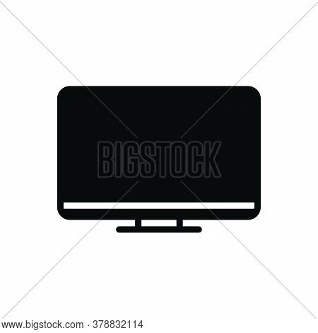 Black Solid Icon For Monitor Programmatic Technology Digital Electronic Software Computer Tv Screen