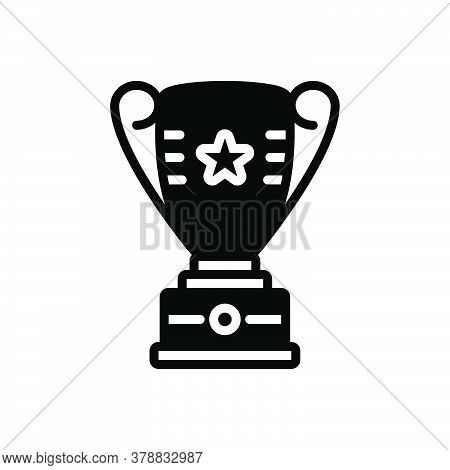 Black Solid Icon For Trophy Prize Cup Winnere Achieve Award Celebration Competition Success Champion