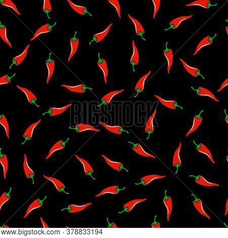 Hot Spicy Red Chili Pepper Seamless Pattern Vector Eps10. Organic Spices For Mexican Or Asian Dishes