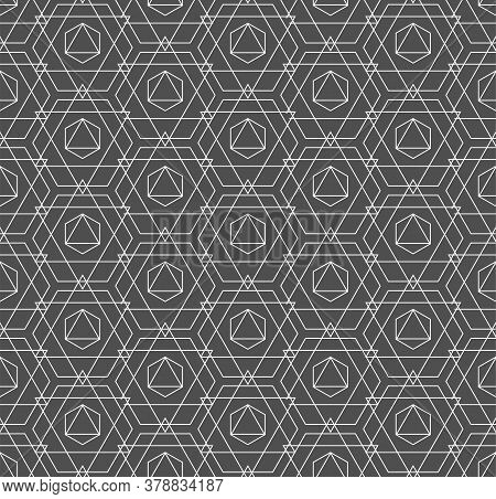 Repeat Abstract Graphic Hexagon, Wallpaper Texture. Continuous Ornament Vector Continuous Design Pat