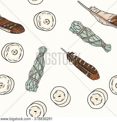 Sage Smudge Sticks And Candles Hand-drawn Boho Seamless Pattern. Lavender, Sage Herb Bundle Backgrou