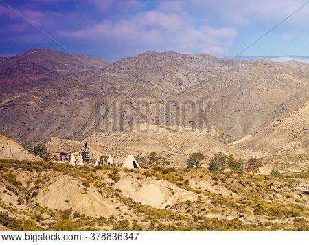 Tabernas Desert, Almeria, Spain - January 9, 2020: Western Leone Village, Movie Location Set For Spa