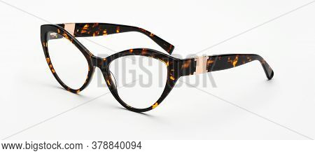Vintage Glasses Leopard Painted Isolated On White Background. Retro Eyeglasses Cats Eye Shape