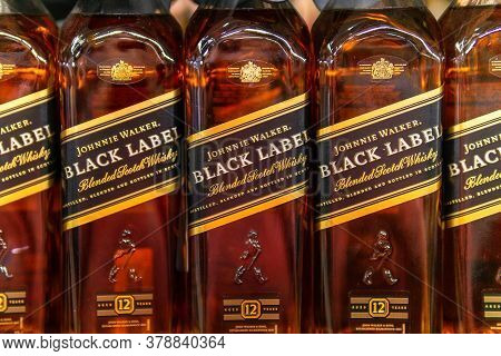 Tyumen, Russia-june 05, 2020: Johnnie Walker Is A Popular Brand Of Blended Scotch Whisky In The Worl