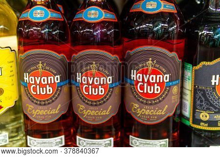 Tyumen, Russia-june 05, 2020: Havana Club Rum Is Used To Prepare Authentic Cuban Mojito Cocktails. O