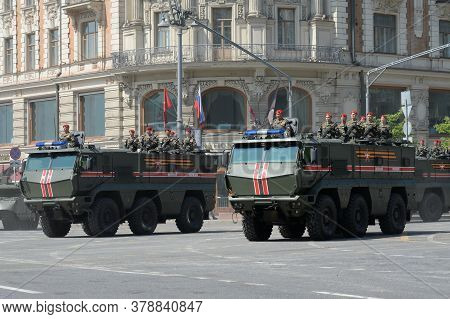 Moscow, Russia - June 20, 2020:armored Trucks Of The Military Police Kamaz-63968