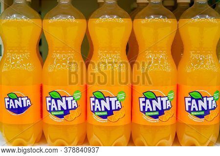 Tyumen, Russia-may 04, 2020: Coca Cola Company Soft Drink Fanta Orange. Fanta Is A Global Brand Of F