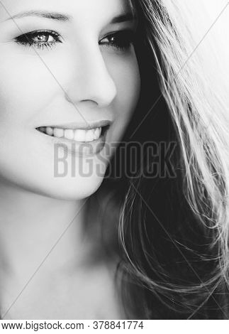 Happy Woman Smiling, Brunette With Long Light Brown Hair, Girl Wearing Natural Makeup Look, Female S
