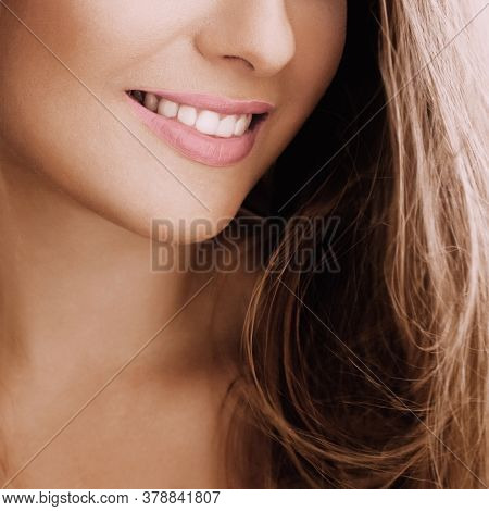 Healthy Female Smile With Perfect Natural White Teeth, Beauty Face Closeup Of Smiling Young Woman, B