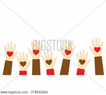Stop Racism Icon. Black Lives Matter Concept. Hearts In The Hands. Template For Background, Banner,