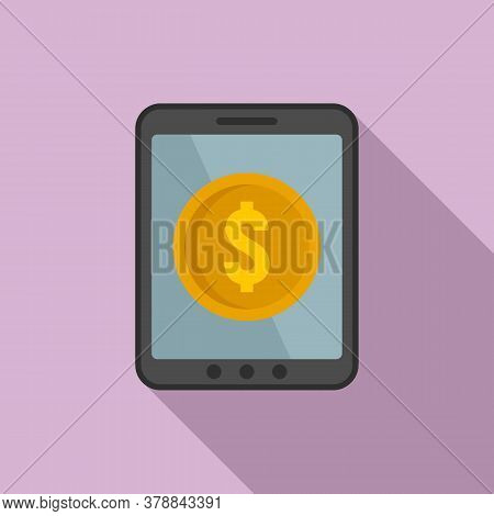 Tablet Online Loan Icon. Flat Illustration Of Tablet Online Loan Vector Icon For Web Design