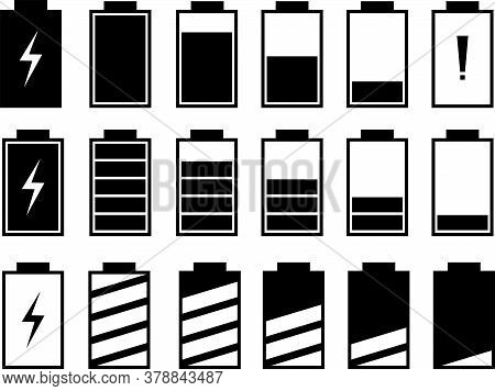 A Set Of Icons Of The Information State Of The Battery. A Set Of Indicators Of The Level Of Charge O