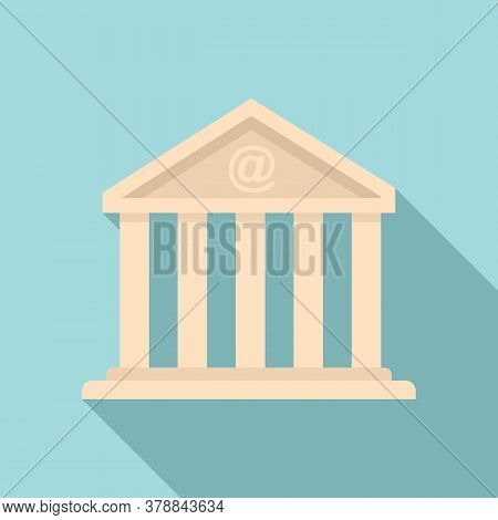 Loan Bank Building Icon. Flat Illustration Of Loan Bank Building Vector Icon For Web Design