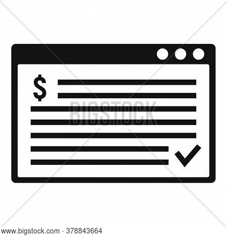 Web Page Online Loan Icon. Simple Illustration Of Web Page Online Loan Vector Icon For Web Design Is