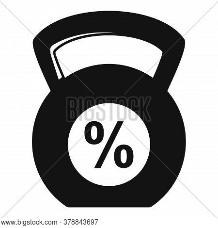 Kettlebell Percent Online Loan Icon. Simple Illustration Of Kettlebell Percent Online Loan Vector Ic