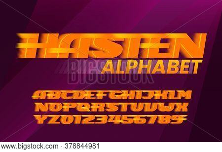 Hasten Alphabet Font. Fast Wind Effect Letters And Numbers. Stock Vector Typescript For Your Design