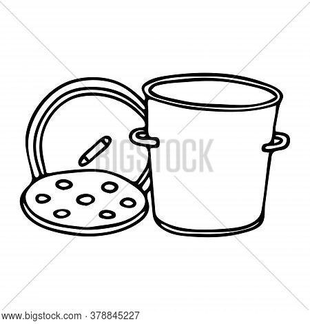 Black Hand Drawing Outline Illustration Of A Saucepan With Lid For Cooking Isolated On A White Backg
