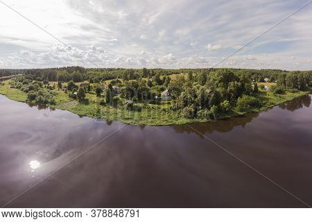 Magnificent Panorama From A High Point On The River, Forest And Beautiful Sky On A Sunny Day.thesuni