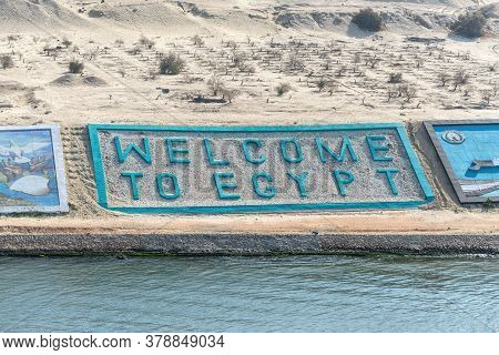 Ismailia, Egypt - November 14, 2019: Gigantic Letters Saying