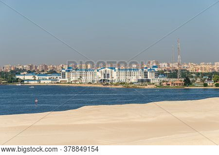 Ismailia, Egypt - November 5, 2017: Tolip El Forsan Hotel On The Lake Timsah Lies Along The Path Of