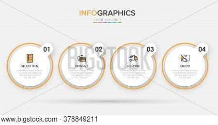 Concept Of Shopping Process With 4 Successive Steps. Four Colorful Graphic Elements. Timeline Design