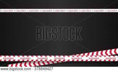 Police Tape, Crime Danger Line. Caution Police Lines Isolated. Warning Tapes. Set Of Red Warning Rib