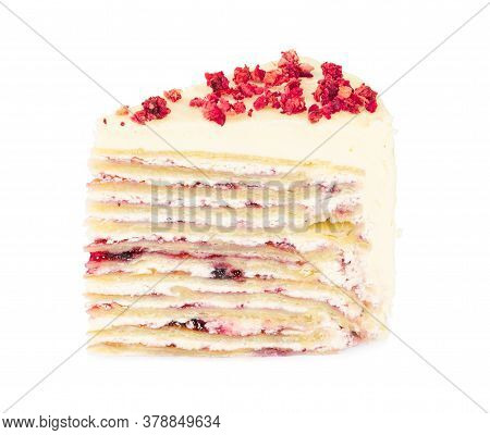 Creamy Blueberry Cake With Many Layers Isolated On White Background.