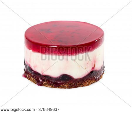 Cheesecake With Blueberry Jam And Jelly Isolated On White Background.