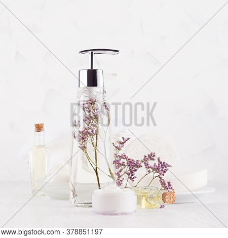 Fresh Clean White Cosmetic Product And Beauty Accessories For Skin Cleansing And Body Care  On White