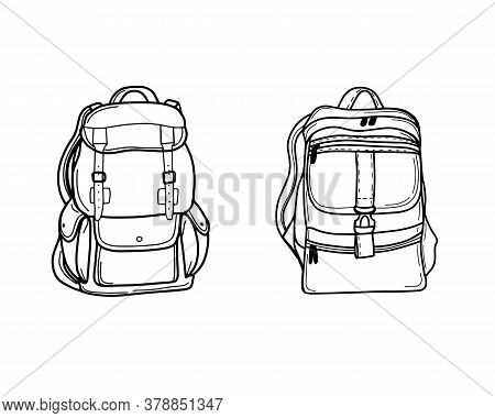 A School Backpack Or A Satchel. Tourist Backpack For Traveling And Hiking. Luggage Bag For Transport