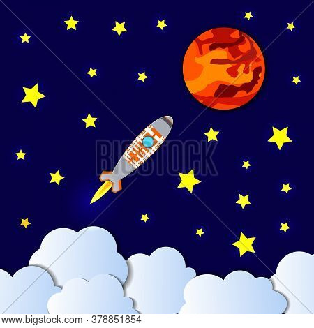 Vector Cartoon Style Launch To Mars Illustration, Paper Cutout Geometric Shapes, Space Background, C