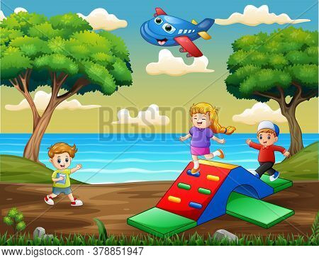 Happy Kids Playing On The Playground Illustration