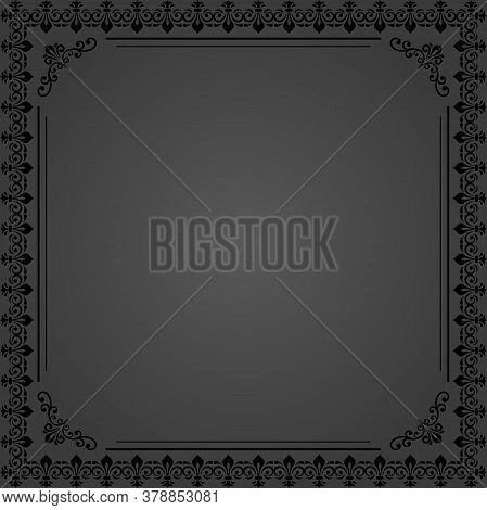 Classic Vector Square Frame With Arabesques And Orient Elements. Abstract Ornament With Place For Te